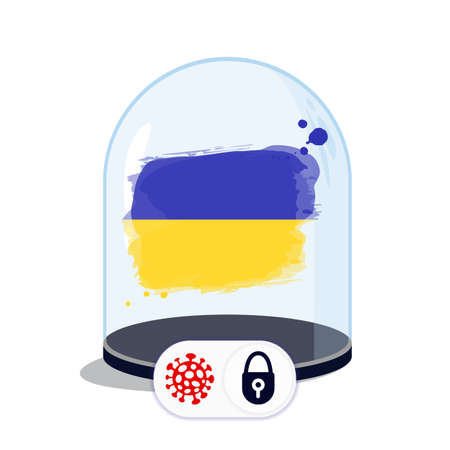 Ukraine flag under the glass dome. Closing borders during coronavirus infection. Countries are isolated from each other. Social distance.