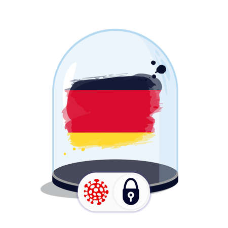 Germany flag under the glass dome. Closing borders during coronavirus infection. Countries are isolated from each other. Social distance.