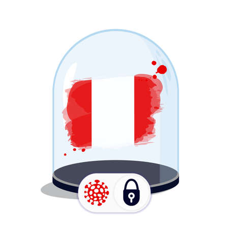 Peru flag under the glass dome. Closing borders during coronavirus infection. Countries are isolated from each other. Social distance. Illustration