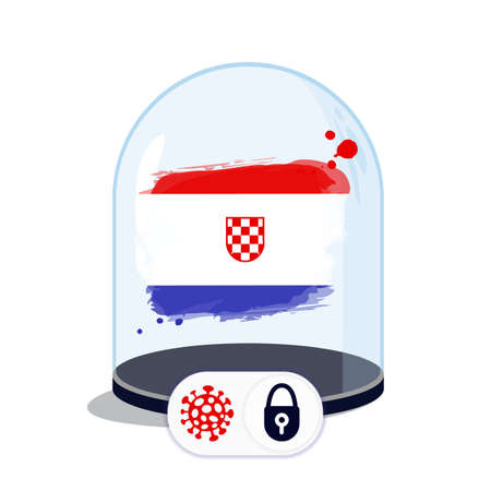 Croatia flag under the glass dome. Closing borders during coronavirus infection. Countries are isolated from each other. Social distance.