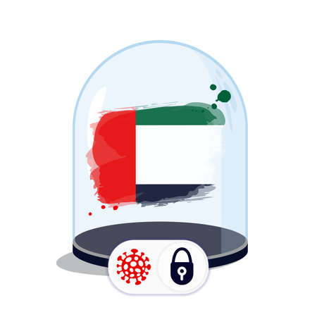 Arab Emirates flag under the glass dome. Closing borders during coronavirus infection. Countries are isolated from each other. Social distance. 向量圖像