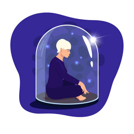Woman sitting in lotus position with eyes closed under a glass dome. Communications of people in the period of quarantine and isolation. Social distance. Colorful vector blue concept. Illustration
