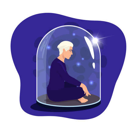Man sitting in lotus position with eyes closed under a glass dome. Communications of people in the period of quarantine and isolation. Social distance. Colorful vector blue concept.