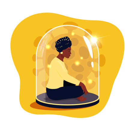 African woman sitting in lotus position with eyes closed under a glass dome. Communications of people in the period of quarantine and isolation. Social distance. Colorful vector yellow concept. 向量圖像