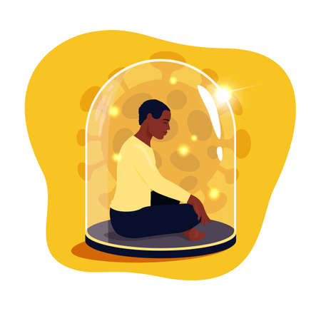 African man sitting in lotus position with eyes closed under a glass dome. Communications of people in the period of quarantine and isolation. Social distance. Colorful vector yellow concept.