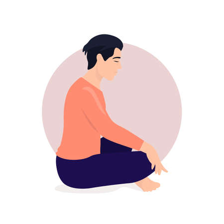Man sitting in lotus position and meditate. Respiratory practice of pranayama. Social media avatar. Vector illustration in retro colors. Ilustrace
