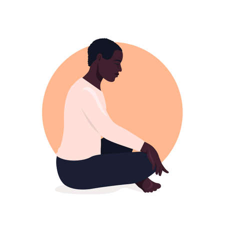 African man sitting in lotus position and meditate. Respiratory practice of pranayama. Social media avatar. Vector illustration in retro colors.