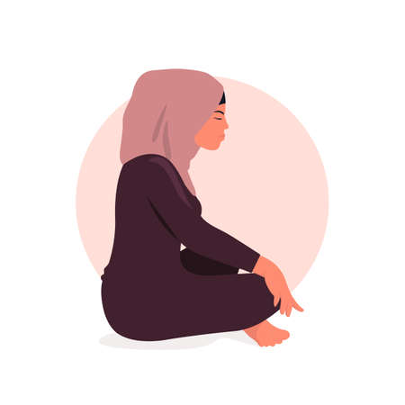 Arab woman sitting in lotus position and meditate. Respiratory practice of pranayama. Social media avatar. Vector illustration in retro colors.