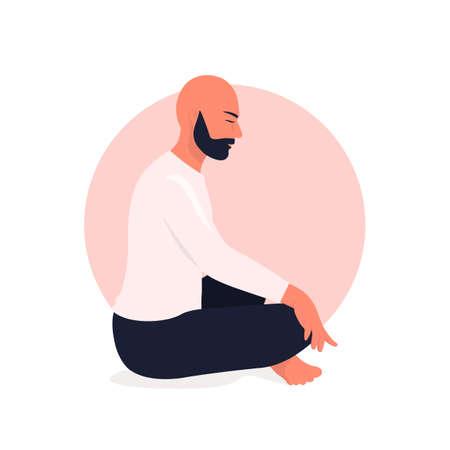 Arab man sitting in lotus position and meditate. Respiratory practice of pranayama. Social media avatar. Vector illustration in retro colors. Ilustrace