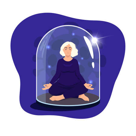 Woman sitting in lotus position with eyes closed under a glass dome. Communications of people in the period of quarantine and isolation. Social distance. Colorful vector blue concept. 向量圖像
