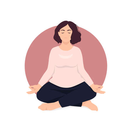Woman sitting in lotus position and meditate. Respiratory practice of pranayama. Social media avatar. Vector illustration in retro colors.