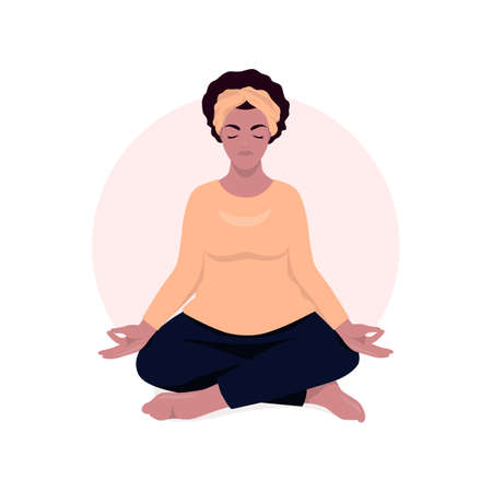 African woman sitting in lotus position and meditate. Respiratory practice of pranayama. Social media avatar. Vector illustration in retro colors. Ilustrace