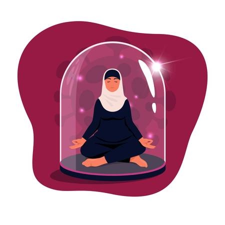 Arab woman sitting in lotus position with eyes closed under a glass dome. Communications of people in the period of quarantine and isolation. Social distance. Colorful vector red concept.