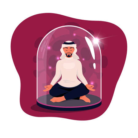 Arab man sitting in lotus position with eyes closed under a glass dome. Communications of people in the period of quarantine and isolation. Social distance. Colorful vector red concept.