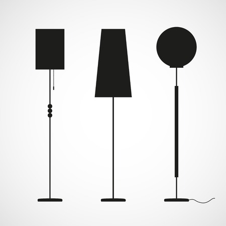 Vector black silhouettes of floor lamps Vector