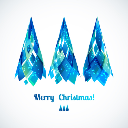 Three abstract vector 3d blue Christmas tree. New year illustration Vector