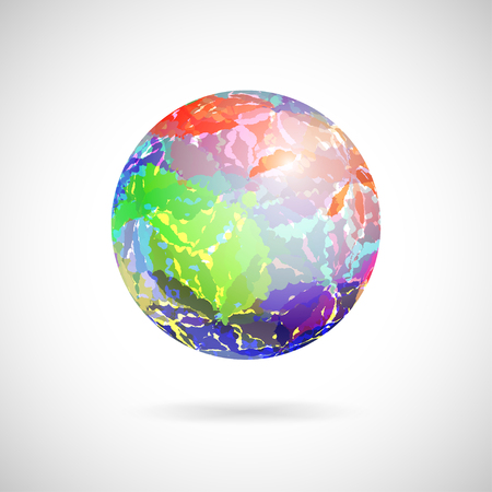 Vector abstract ball of colored spots painted with watercolor Vector