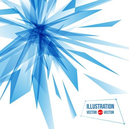 cristal roto: Fondo abstracto del vector de fragmentos azules. Ilustración de triángulos Vectores