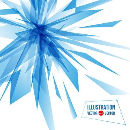 frozen glass: Vector abstract background of blue fragments. Illustration of triangles Illustration