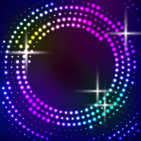 Vector abstract background with multicolored circles. Halftone dots Vector