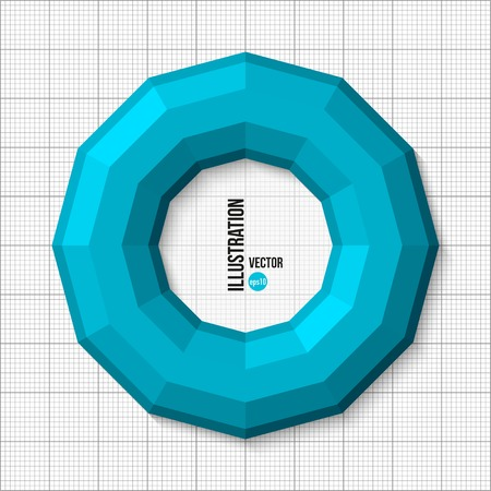 3d vector illustration of blue torus isolated on white checkered background Vector