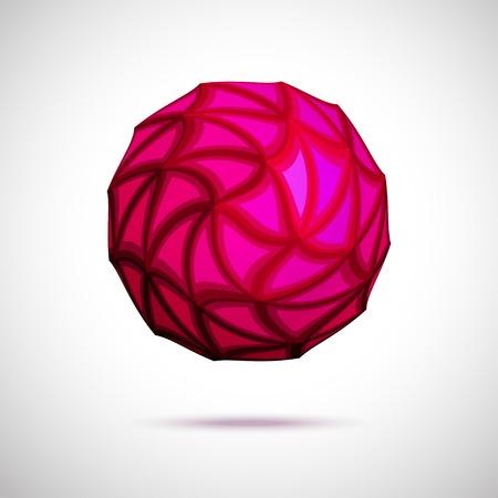 red sphere: 3d illustrazione vettoriale della sfera rossa con facce triangolari isolato su sfondo bianco Vettoriali