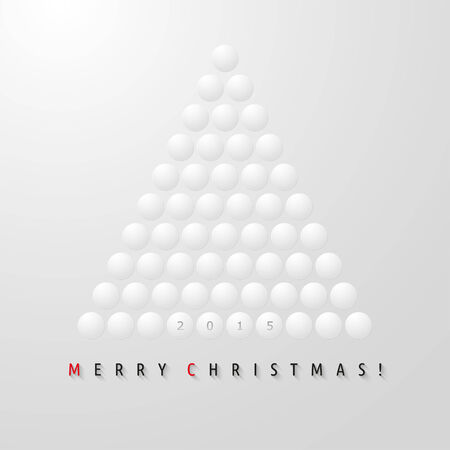 Vector abstract Christmas tree from white balls Vector