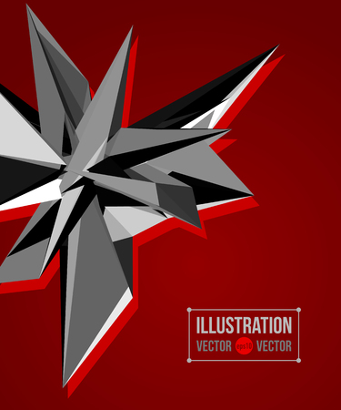 fragments: abstract red background of black fragments. Illustration of triangles Illustration