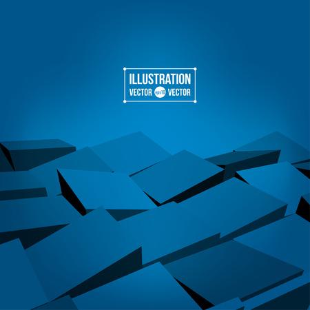 blue 3d blocks: Abstract vector blue 3D blocks background