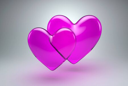 shiny hearts: Shiny Glossy Two Hearts from Glass. Classic Symbol for Love on Grey Background