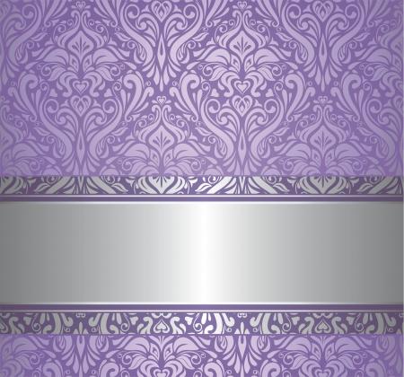 バイオレット、銀高級ビンテージ壁紙