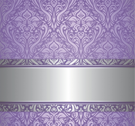 purple silk: violet and silver  luxury vintage wallpaper