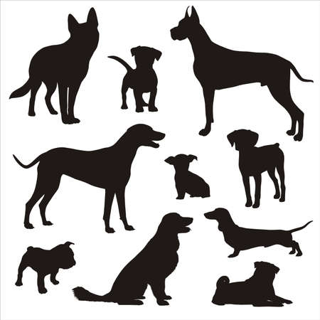 dogd silhouettes Stock Vector - 18681383