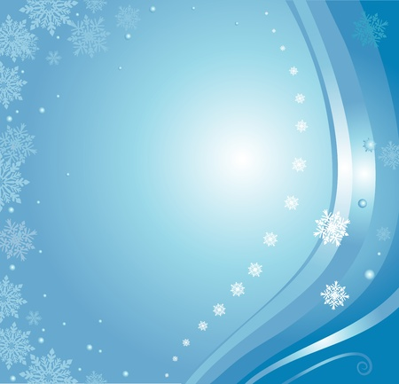 blue christmas card background with snowflakes