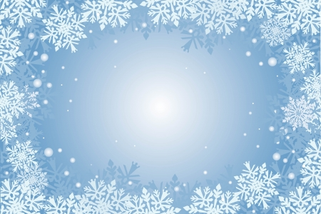 blauwe kerstkaart achtergrond met sneeuwvlokken Stock Illustratie