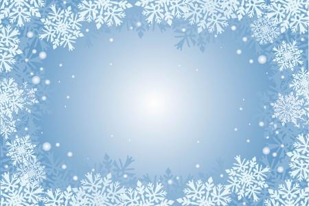 blu sfondo della carta natale con fiocchi di neve