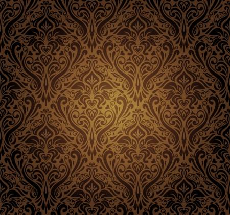 暗い茶色のビンテージ壁紙のデザイン  イラスト・ベクター素材