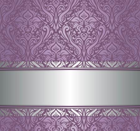amazing wallpaper: viola e argento lusso carta da parati vintage Vettoriali
