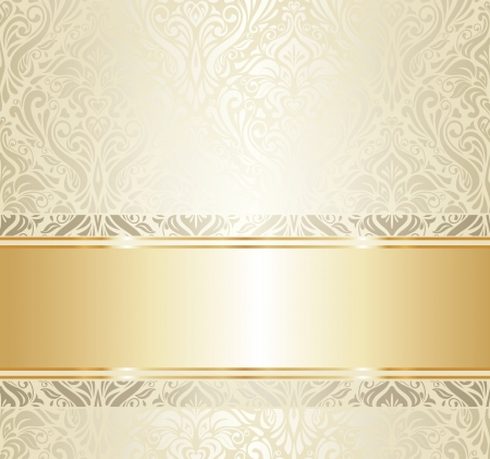 gold floral: Bright luxury vintage wallpaper