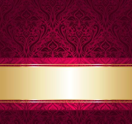 kırmızı ve altın lüks duvar kağıdı Illustration