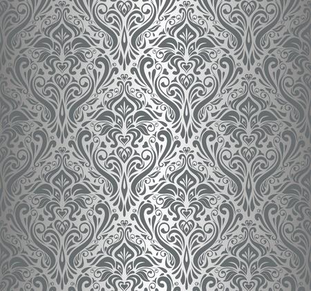 Silber Luxus-Vintage Tapete Standard-Bild - 18684155