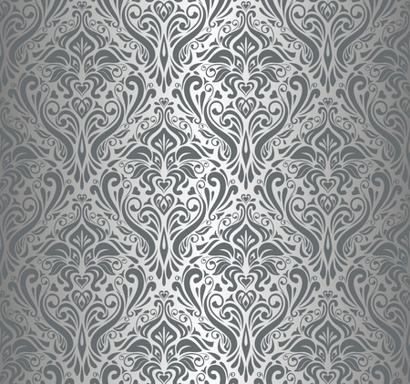 ashy: Silver luxury vintage wallpaper Illustration