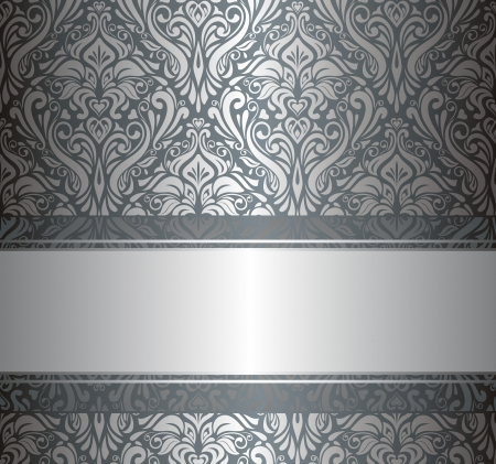 Silver luxury vintage wallpaper Çizim