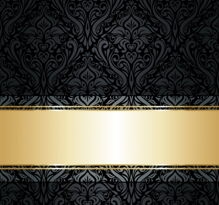 swirly: black  and gold vintage wallpaper