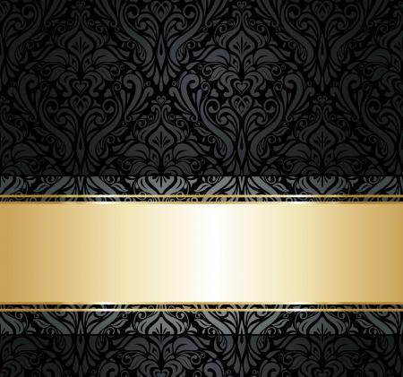 silk fabric: negro y oro viejo vintage