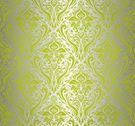 pale ocher: Green    silver  vintage wallpaper design