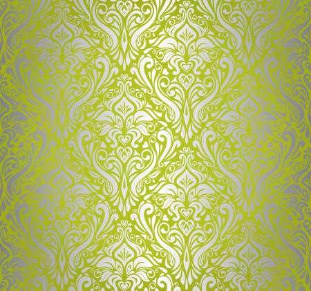 ocher: Green    silver  vintage wallpaper design