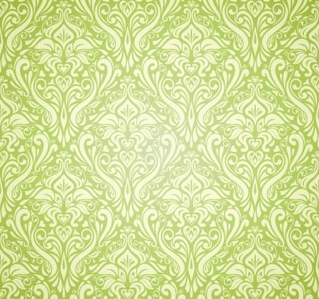 緑のビンテージ壁紙のデザイン  イラスト・ベクター素材