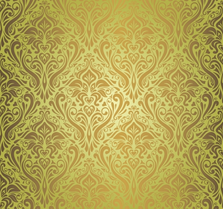 pale ocher: Green    brown  vintage wallpaper design  Illustration