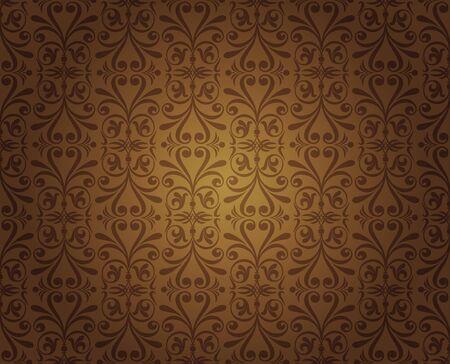 pale ocher: dark brown vintage wallpaper design